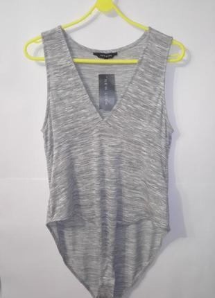 Серый новый боди комбидрес new look uk 18 / 46 /.xxl большой размер