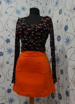 Модная юбка трапеция оранжевого цвета