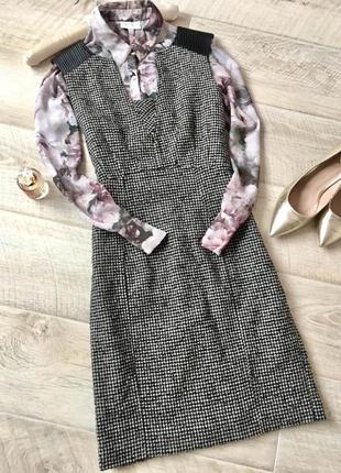 Платье футляр миди в гусиную лапку шерсть