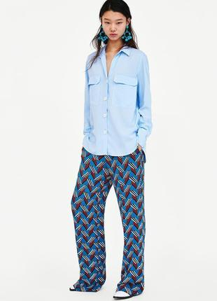 Нежная голубая небесная рубашка блуза в бельевом стиле zara oversize оверсайз вискоза 💯
