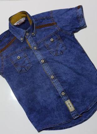 Джинсовая рубашка на коротком рукаве на мальчика
