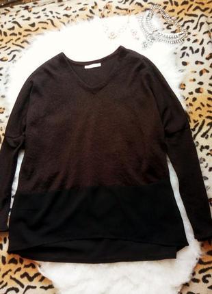 Черная комбинированная блуза от zara кофта джемпер беременным декольте шифон