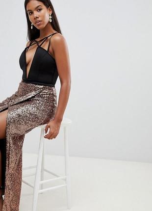 Шикарное платье с юбкой в пайетках rare london,р-р 14