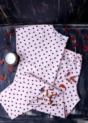 Элегантная хлопковая пижама, размеры xs-s, m-l