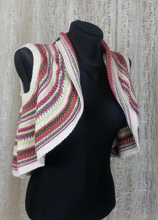 Вязаное болеро с ярким орнаментом, накидка, жилетка, кофта