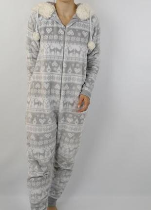 Плюшевый комбинезон рождество теплый пижама домашняя одежда размер m