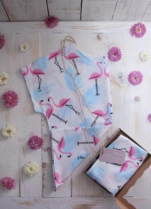 Хлопковая пижама с грациозными фламинго!