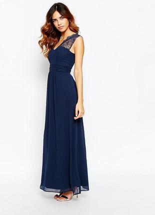 Элегантное длинное вечернее, выпускное платье на одно плечо с кружевом elise ryan
