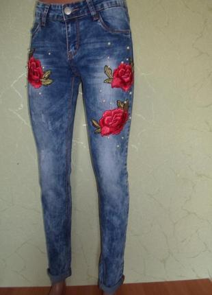 Стильные джинсы,стрейч-коттон , вышивка+жемчуг ,турция, р-ры 272 фото