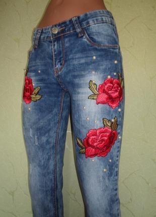 Стильные джинсы,стрейч-коттон , вышивка+жемчуг ,турция, р-ры 273 фото