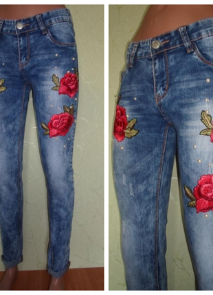 Стильные джинсы,стрейч-коттон , вышивка+жемчуг ,турция, р-ры 27 и 31