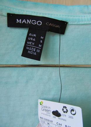 Бирюзовая футболка oversize mango, m-l, хлопок5