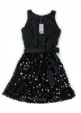 Красивое вечернее черное платье в паетки