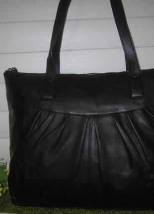 Большая кожаная сумка шоппер английского бренда marks & spencer  нат. кожа