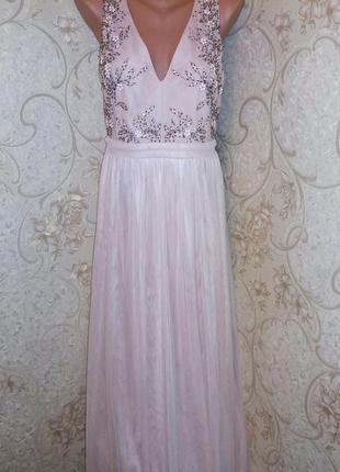 Шикарное нюдовое платье в пол little mistress с вышивкой и стразами размер 16-18