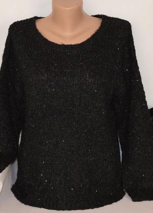 Брендовый черный теплый свитер кофта george бангладеш акрил паетки переливается