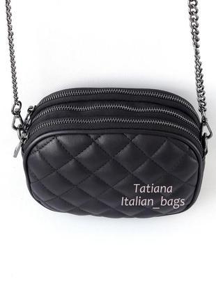 Оригинальная стеганая сумка кроссбоди на цепочке, черная. кожа, италия3