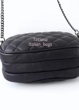 Оригинальная стеганая сумка кроссбоди на цепочке, черная. кожа, италия5