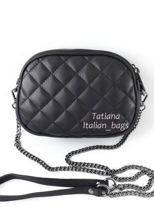Оригинальная стеганая сумка кроссбоди на цепочке, черная. кожа, италия