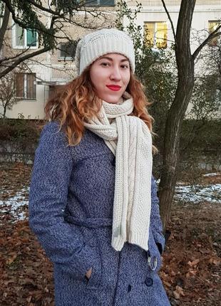 Комплект вязанные шарф и шапка