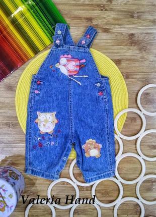 Мягкий классный джинсовый комбинезон для девочки - возраст 6 месяцев