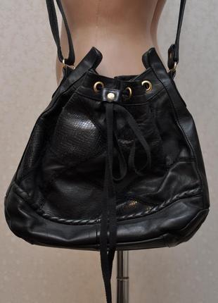 Классная сумка кисет,торба, натуральная кожа, отделка кружевом, состояние идеальнейшее!!