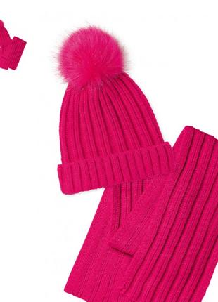 Малиновый набор для девочек: шапка и шарф