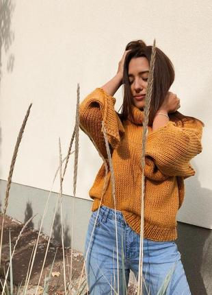 Стильлый свитер оверсайз в трендовом горчичном цвете♥