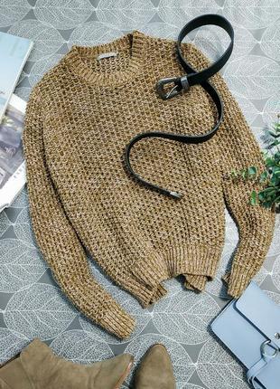 Актуальный плотный вязаный объемный свитер cos джемпер зелено-коричневого цвета