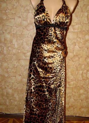 Вечернее платье (сарафан) с леопардовым принтом р.м