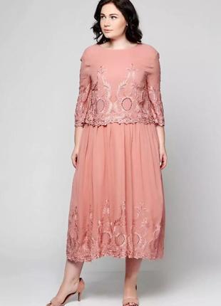 Красивое нарядное вечернее платье миди от asos с вышивкой и бусинами.