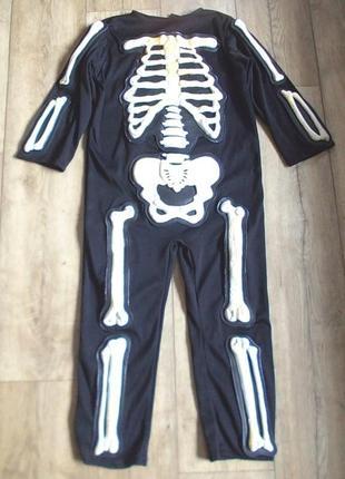 Маскарадный костюм скелета на хеллоуин на 3-5 лет