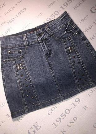 Красивая джинсовая юбка мини