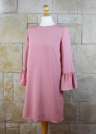 Акция 1+1=3! новое трендовое пудрое платье с рюшами oodji