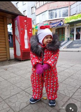 Зимний комбинезон для девочки натуральный мех