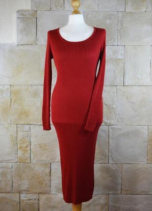 Акция 1+1=3! теплое трикотажное платье миди по фигуре от atm