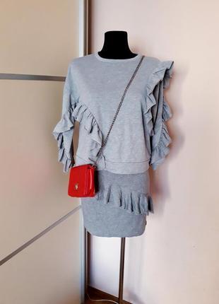 1+1=3 шикарный комплект костюм юбка и свишот с воланом
