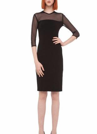 Маленькое черное платье по фигуре с прозрачной кокеткой 44-48 рр