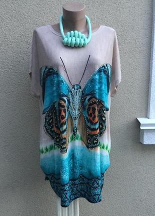 Яркая,футболка,блуза,туника с бабочкой,стразами по груди,хлопок,большой размер