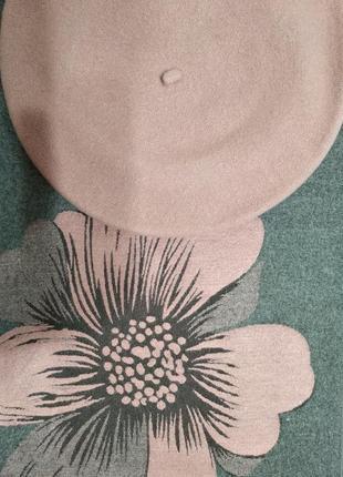 Комплект двухсторонний зимний шарф-палантин цветок и берет tonak чехия
