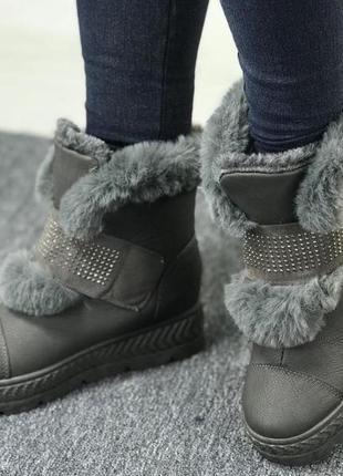Новые теплые серые кожзам женские зимние ботинки сапоги