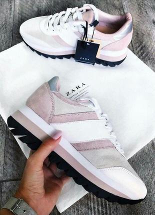 Комбинированные кроссовки zara на платформе