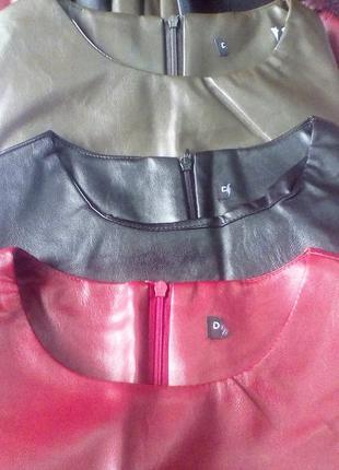 Эффектное кожаное платье с отделкой из кружева +бордо,олива от h&m6 фото