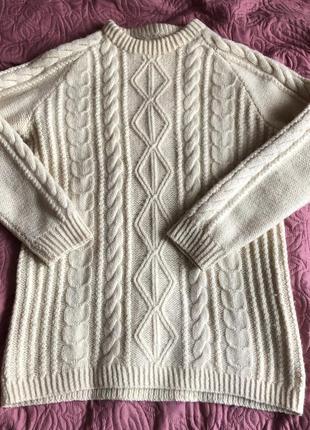 Мега тёплый свитер (ручная работа 100% шерсть)