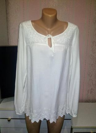 Белоснежная блуза из вискозы esprit m - l