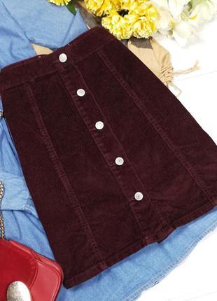Бордовая вельветовая юбка-трапеция в194943 denim co размер uk8/36 (s)