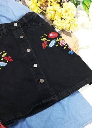 Джинсовая юбка трапеция с  вышивкой в195052 denim co размер uk10/38 (s/m)