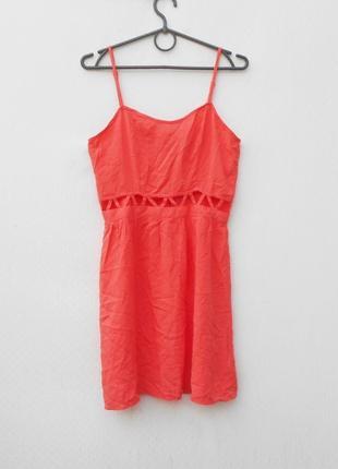 Коралловое летнее легкое платье сарафан из вискозы