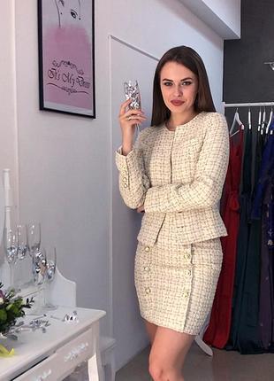 Твидовый костюм юбка пиджак твид asos missguided zara