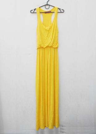 Желтое летнее трикотажное платье в пол из вискозы